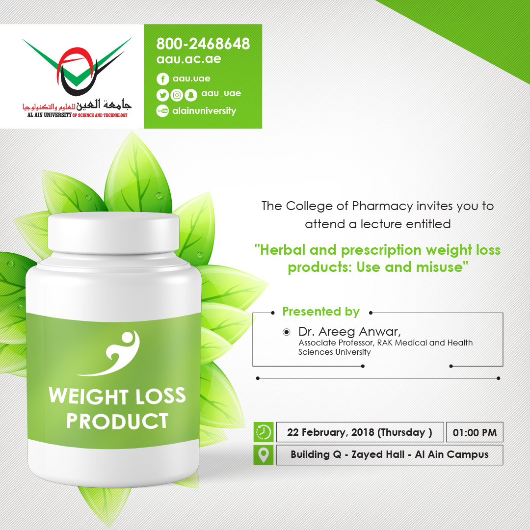 """Lecture entitled """" Herbal and Prescription Weight loss Products ..."""